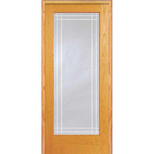 MMI Door Pine Glass Full Lite Perimeter V-Groove Prehung Interior Door