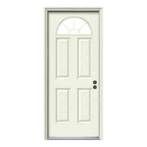 JELD-WEN Fan Lite Steel Prehung Exterior Door w/ Brickmould