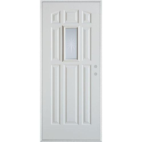 Stanley Doors V-Groove Rectangular Lite 9-Panel Steel Prehung Exterior Door