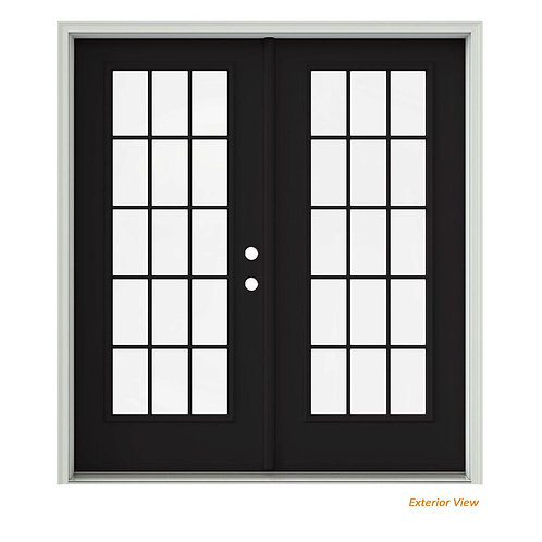 JELD-WEN Steel Inswing 15 Lite Glass Active/Stationary French Patio Door