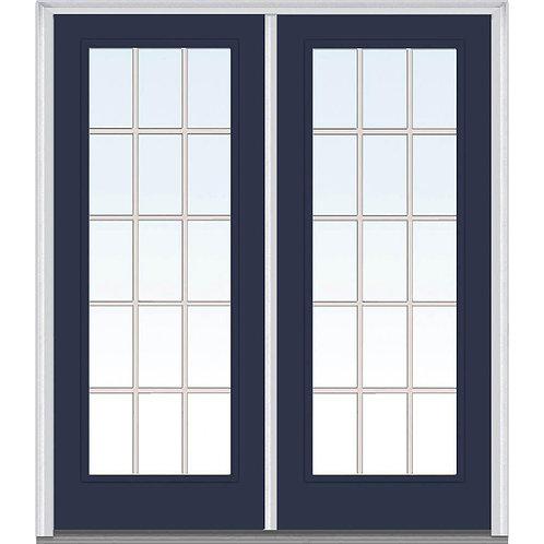 MMI Door Internal Grilles Full Lite Painted Steel Prehung Double Front Door