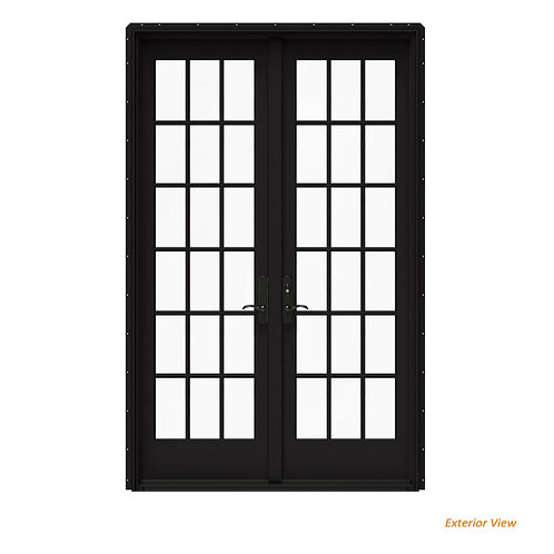 JELD-WEN W-4500 Clad Wood 18-Lite French Patio Door w/ Contemporary Frame
