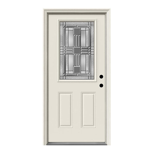 JELD-WEN 1/2 Lite Cordova Steel Prehung Exterior Door w/ Brickmould