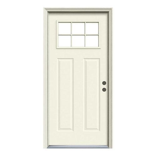 JELD-WEN 6 Lite Craftsman Steel Prehung Exterior Door w/ Brickmould