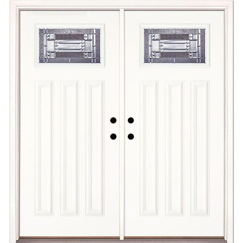 Feather River Doors Preston Zinc Craftsman Fiberglass Prehung Double Door