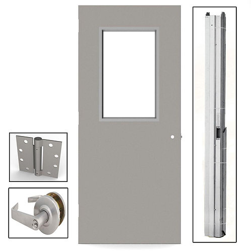 L.I.F. Industries Flush Steel Vision Light Commercial Door w/ Hardware