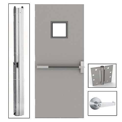 L.I.F. Industries Flush Fireproof Steel Door w/ Knockdown Frame & Glass Window