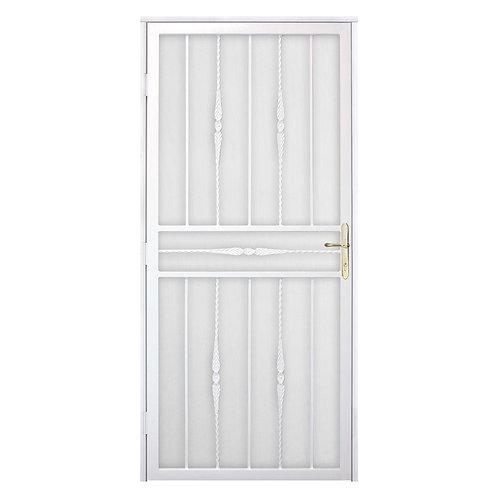 Unique Home Designs Cottage Rose Security Door w/ Metal Screen & Brass Hardware