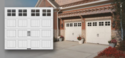 Grooved panel steel carriage house garage doors with or without insulation.
