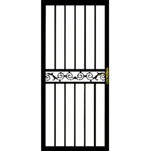 Grisham 121 Series Black Fayette Security Door w/ Self-storing Glass Feature