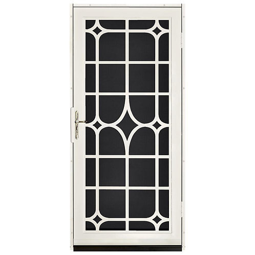 Unique Home Designs Lexington Security Door w/ Black Screen & Brass Hardware