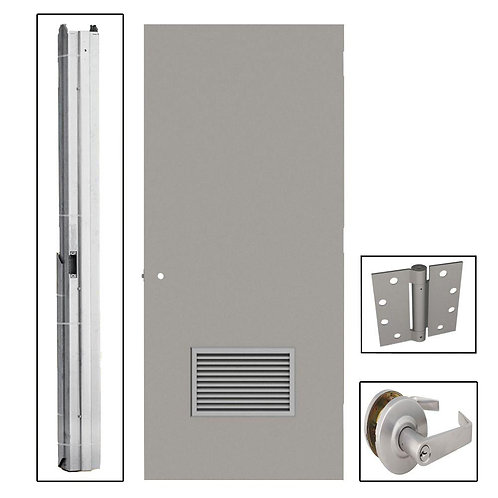 L.I.F. Industries Flush Steel Louvered Commercial Door w/ Hardware