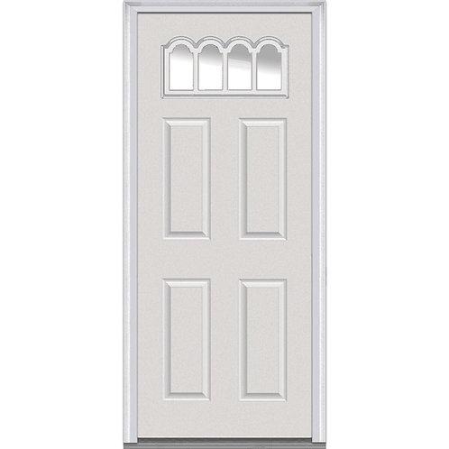 MMI Door Gothic 1/4 Lite Clear 4-Panel Prehung Fiberglass Exterior Door