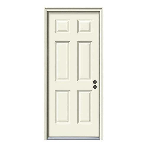 JELD-WEN 6-Panel Steel Prehung Exterior Door w/ Brickmould
