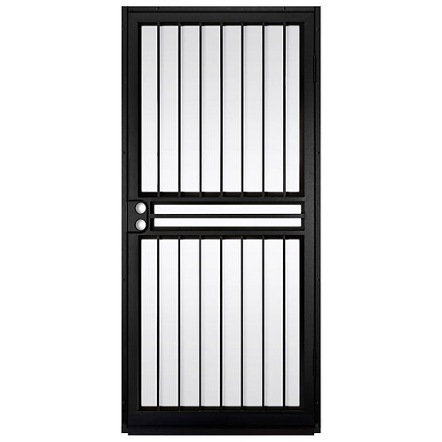 Unique Home Designs Guardian Black Security Door w/ Shatter-resistant Glass