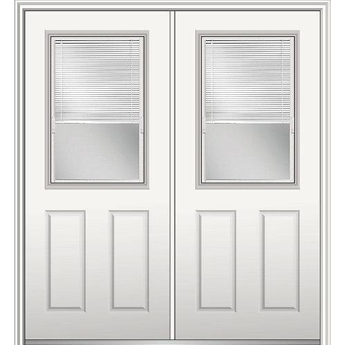 MMI Door Internal Blinds 1/2-Lite 2-Panel Steel Prehung Double Front Door