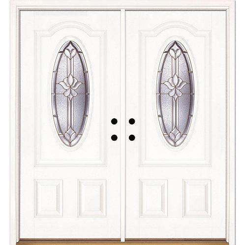 Feather River Doors Medina Brass 3/4 Oval Lite Fiberglass Prehung Double Door