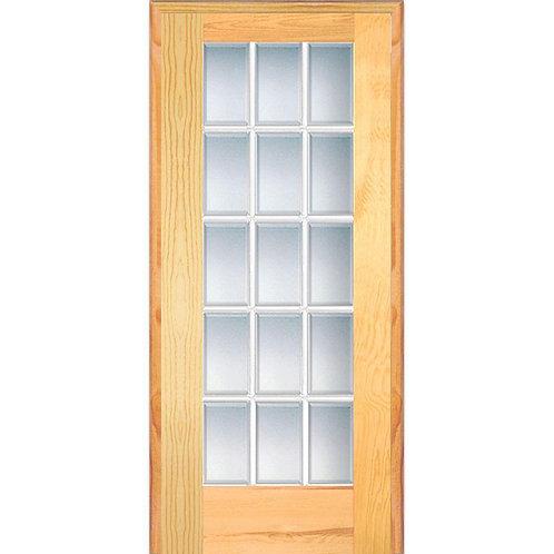 MMI Door Pine Wood Clear Glass 15 Lite Beveled Prehung Interior Door