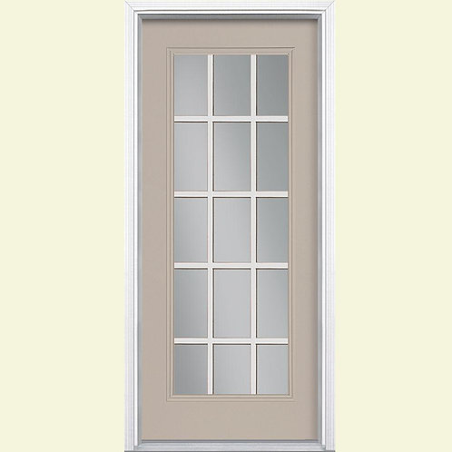 Masonite 15 Lite Painted Steel Prehung Exterior Door w/ Brickmould