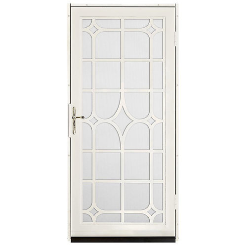 Unique Home Designs Lexington Security Door w/ White Screen & Brass Hardware