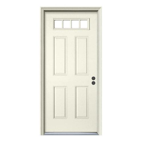 JELD-WEN 4 Lite Steel Prehung Exterior Door w/ Brickmould