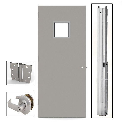 L.I.F. Industries Flush Steel Commercial Door w/ Hardware & Glass