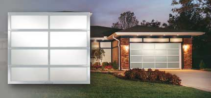 Contemporary glass and aluminum garage doors.