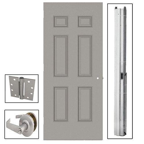 L.I.F. Industries 6-Panel Steel Commercial Door with Hardware