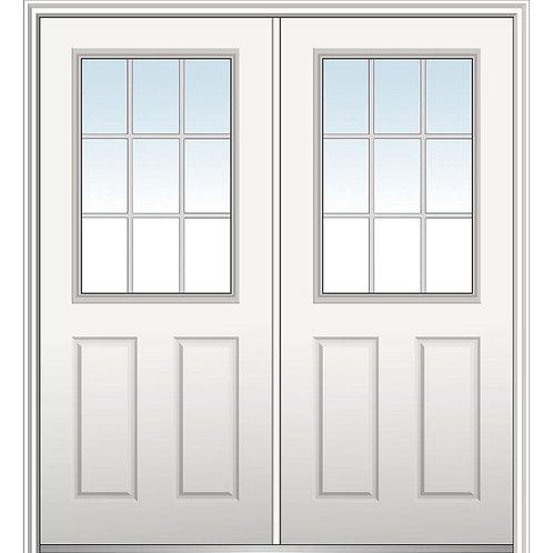 MMI Door Internal Grilles 1/2-Lite Clear Glass 2-Panel Double Front Door