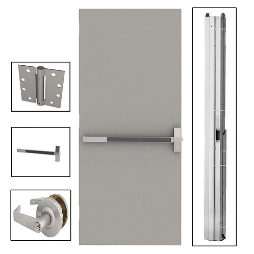L.I.F. Industries Flush Steel Commercial Door w/ Panic Bar