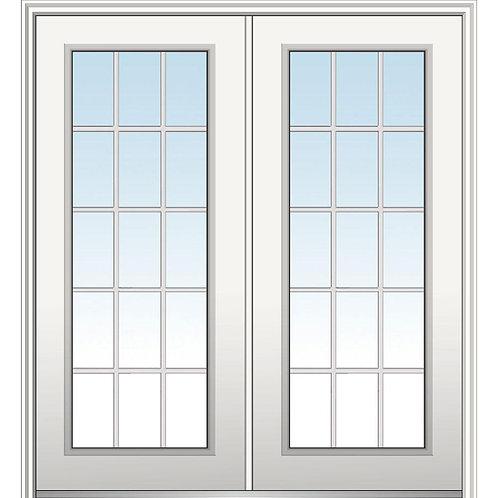 MMI Door Classic 15-Lite Fiberglass Prehung Double Front Door w/ Brickmould