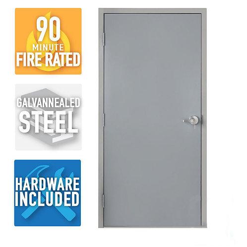 Armor Door Fire-Rated Flush Steel Commercial Door w/ Knock Down Frame & Hardware