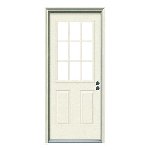 JELD-WEN 9 Lite Steel Prehung Exterior Door w/ Brickmould