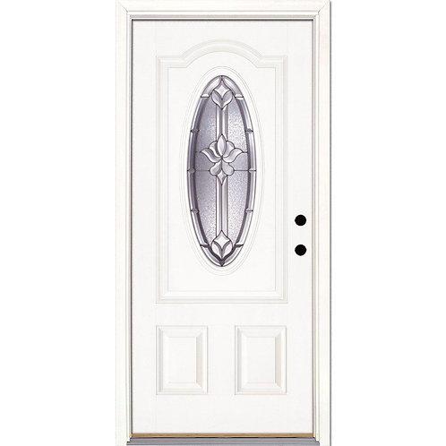 Feather River Medina Zinc 3/4 Oval Lite Prehung Fiberglass Exterior Door