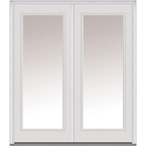 MMI Door Classic Full Lite Steel Prehung Double Front Door