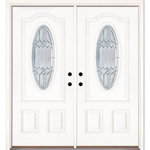 Feather River Doors Mission Point Zinc Fiberglass Prehung Double Front Door