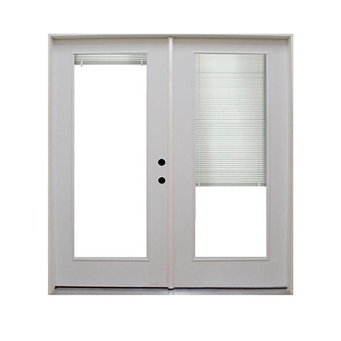Steves & Sons Retrofit Prehung Steel French Patio Door w/ Blinds
