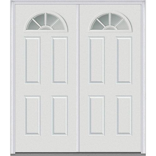 MMI Door Internal Grilles Fan Lite Fiberglass Prehung Double Front Door