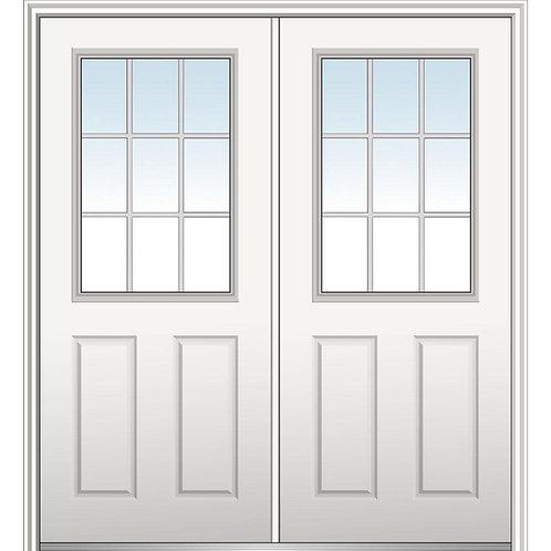 MMI Door Internal Grilles 1/2-Lite Fiberglass Prehung Double Front Doors