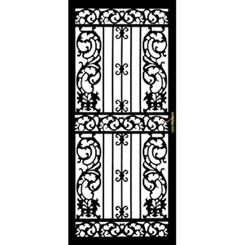 Grisham 114 Series Black Bird of Paradise Security Door w/ Self-storing Glass