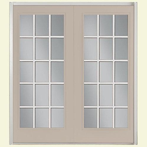 Masonite Steel Prehung 15-Lite Clear Glass Patio Door w/ Vinyl Frame