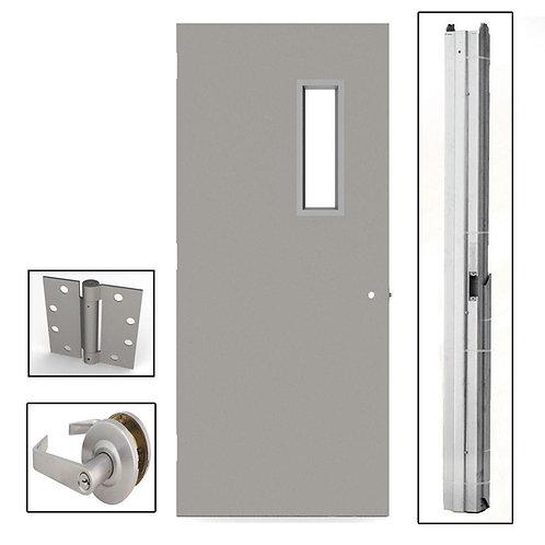 L.I.F. Industries Flush Steel Commercial Door w/ Hardware & Glass
