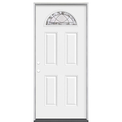 Masonite Premium Deco Fan Lite Steel Prehung Exterior Door w/o Brickmould