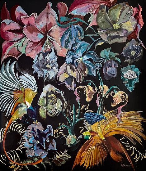 Original oil painting 'Birds of Paradise'