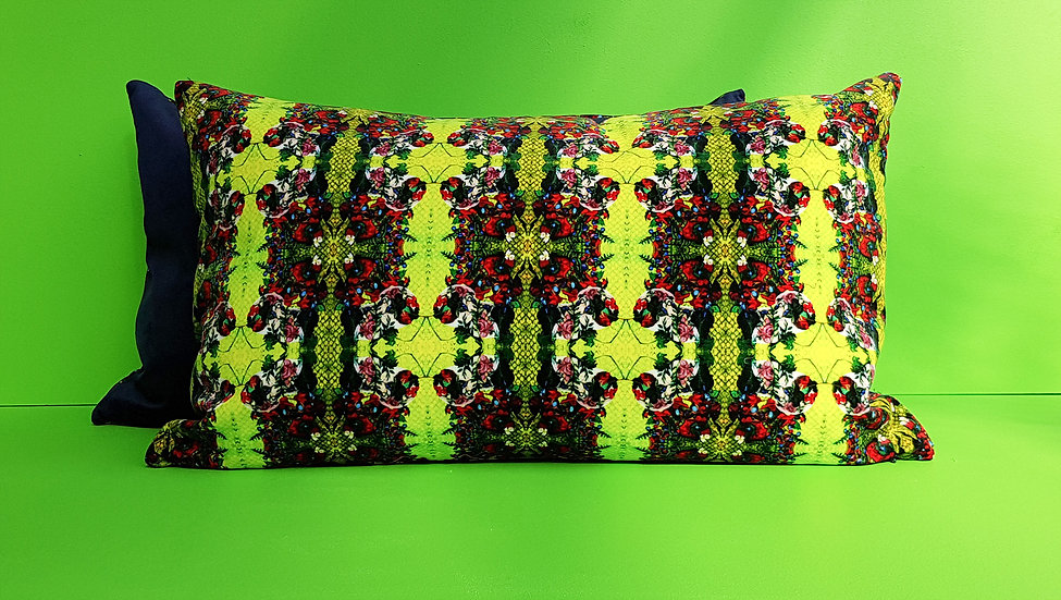 Art Velvet Cushion - Canary Green