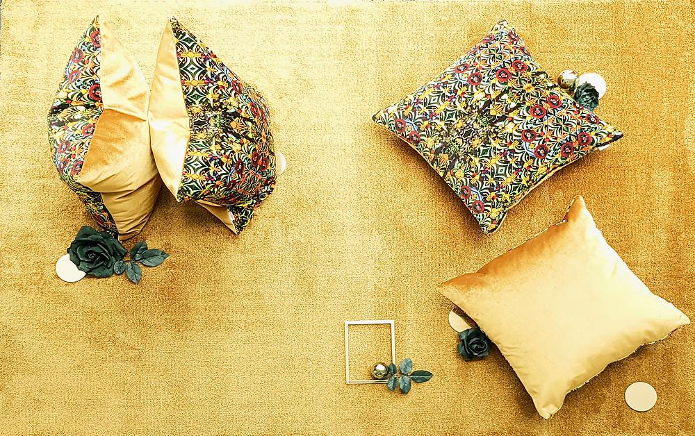 gold velvet cushions , art cushions, velvet home decor, artisan chic