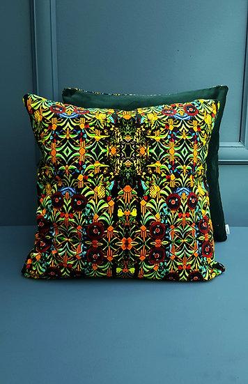 Art Velvet Cushion - Art Deco and Deep Green