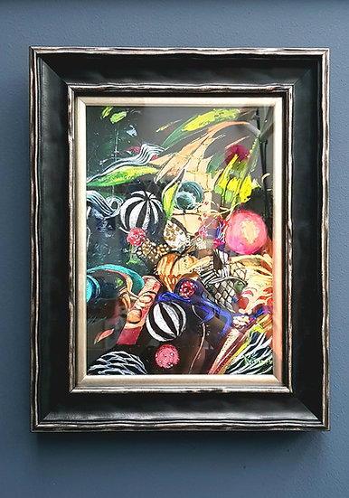 High quality fine art print in black wooden frame with silver slip