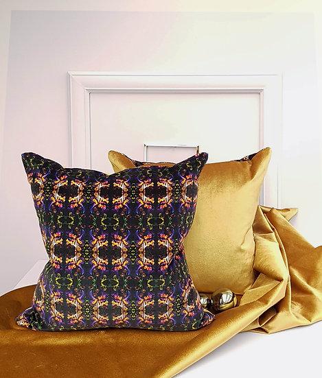 Art Velvet Cushion - Purple and Gold