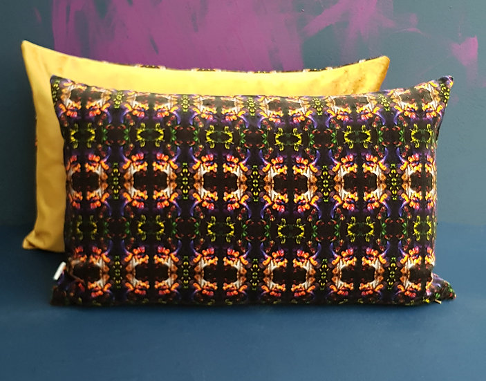 Art Velvet Cushion - Purple and Gold